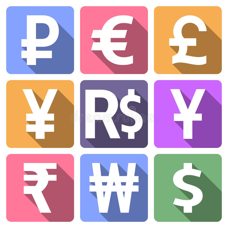 Currency flat icons with long shadow royalty free illustration