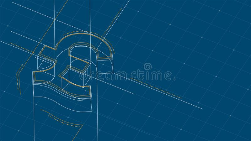 Currency GBP Pound Sterling isometric symbol dot and dash line frame structure pattern wireframe, Digital money cryptocurrency. Concept illustration isolated on stock illustration