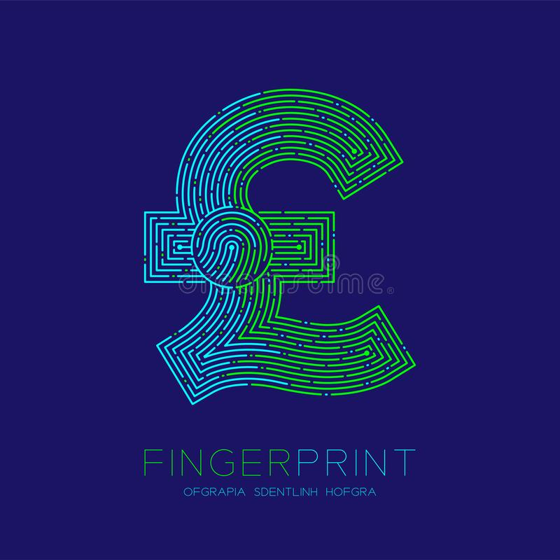 Currency GBP Pound Sterling sign Fingerprint scan pattern logo dash line, digital cryptocurrency concept, Editable stroke. Illustration isolated on blue stock illustration