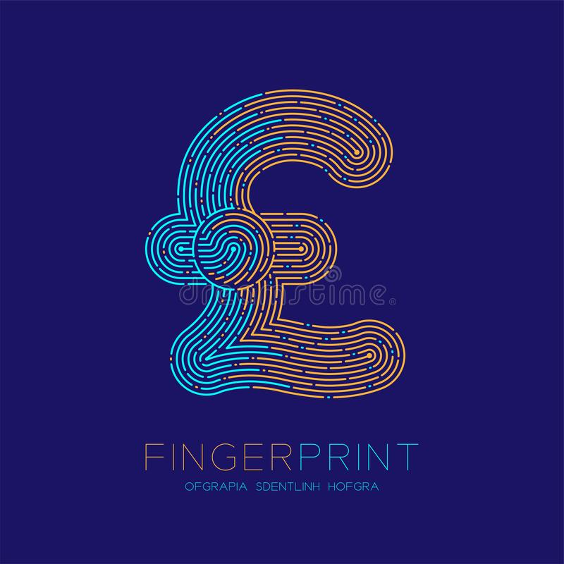 Currency GBP Pound Sterling sign Fingerprint scan pattern logo dash line, digital cryptocurrency concept, Editable stroke. Illustration isolated on blue vector illustration