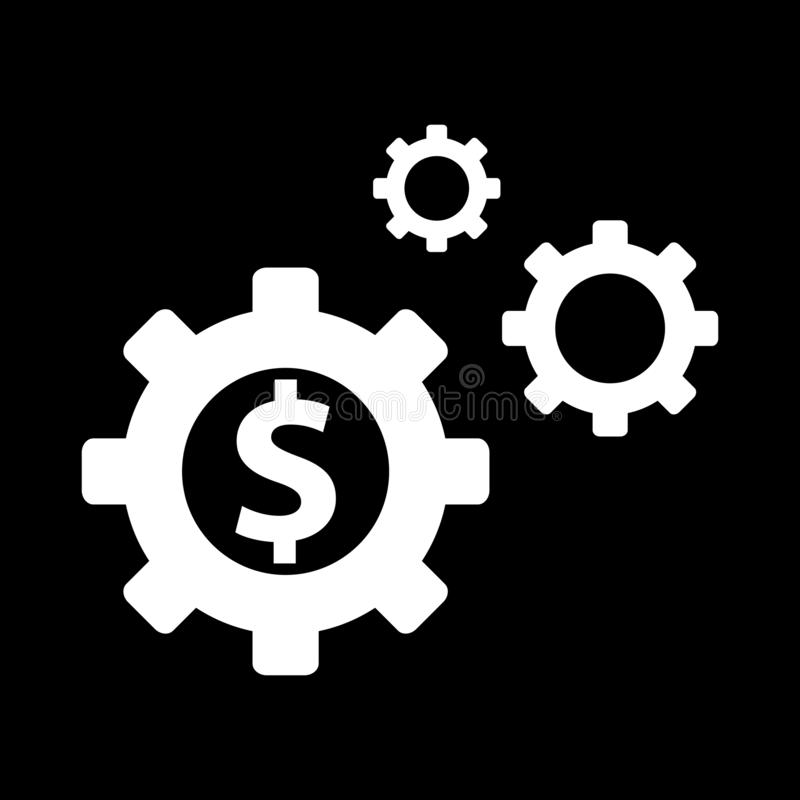 Currency and gear for web icons and symbols on a black background. And flat vector illustration