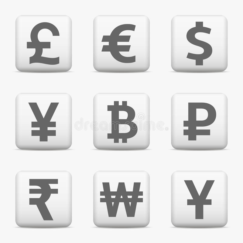 Currency Icons Set Web Buttons Stock Vector Illustration Of Icon