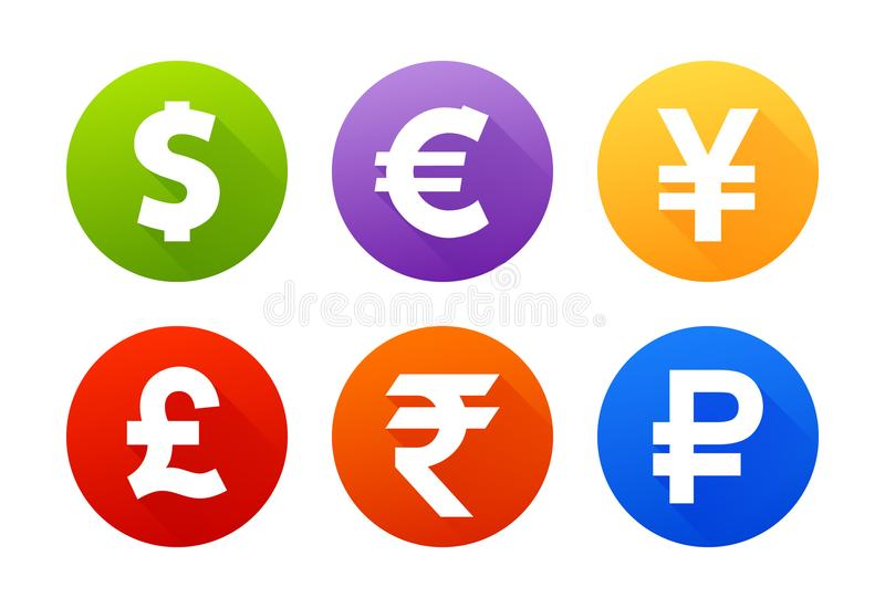 Currency icons with shadow dollar euro pound yen yuan rupee ruble stock illustration