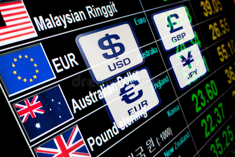 Currency icons signs exchange rate on digital display board royalty free stock photo