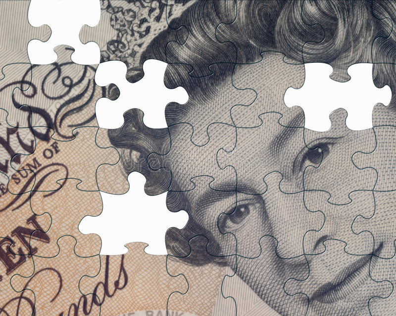 Currency jigsaw royalty free stock photos