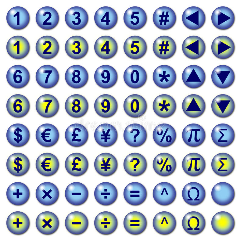 Currency and math symbol web buttons