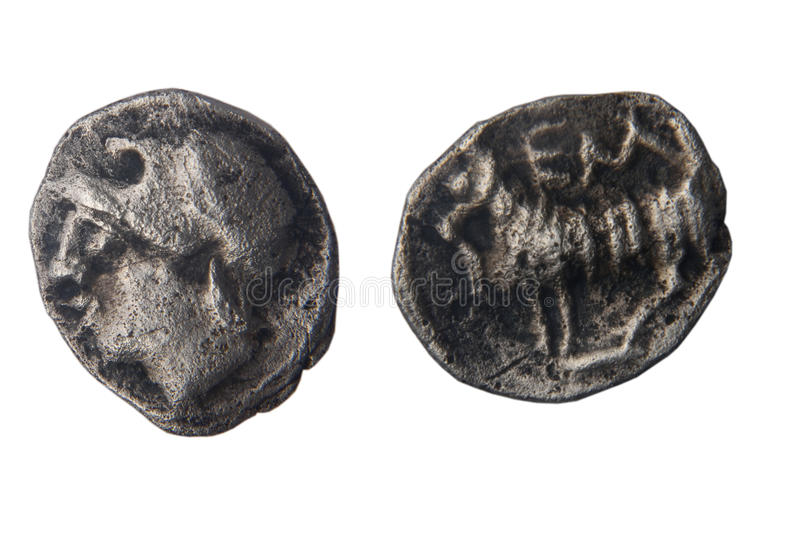 Currency. Mite the Greek city of Ampurias, Pp fourth century B.C front: head back: lamb stock images