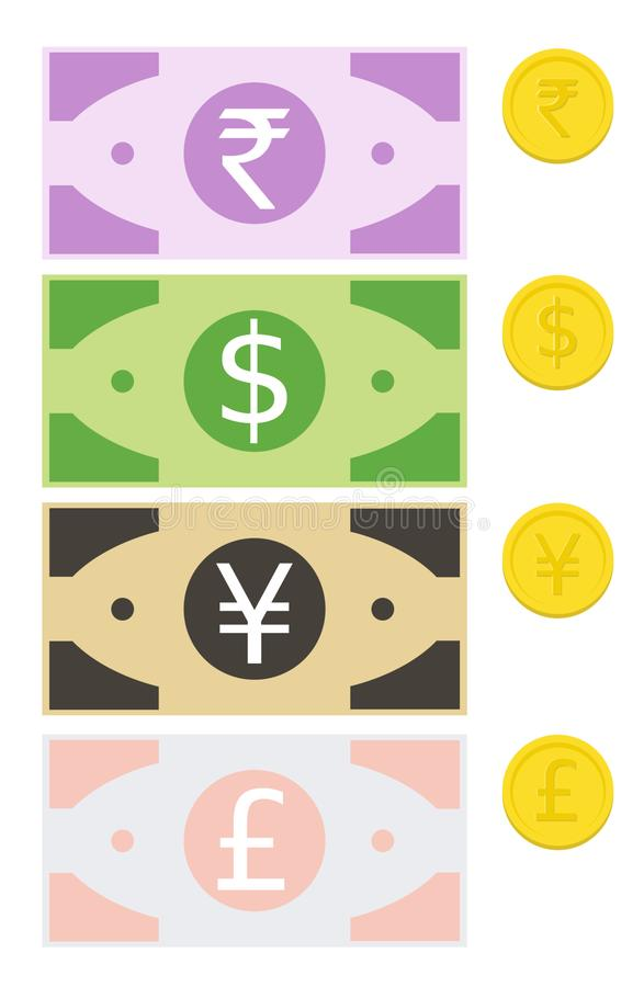 Money, Currency Notes Coins Vector, Rupee, Dollar, Yen, Pound, Vector. Currency notes and coins for Rupee, Dollar, Yen, Pound in JPEG and PNG formats vector illustration