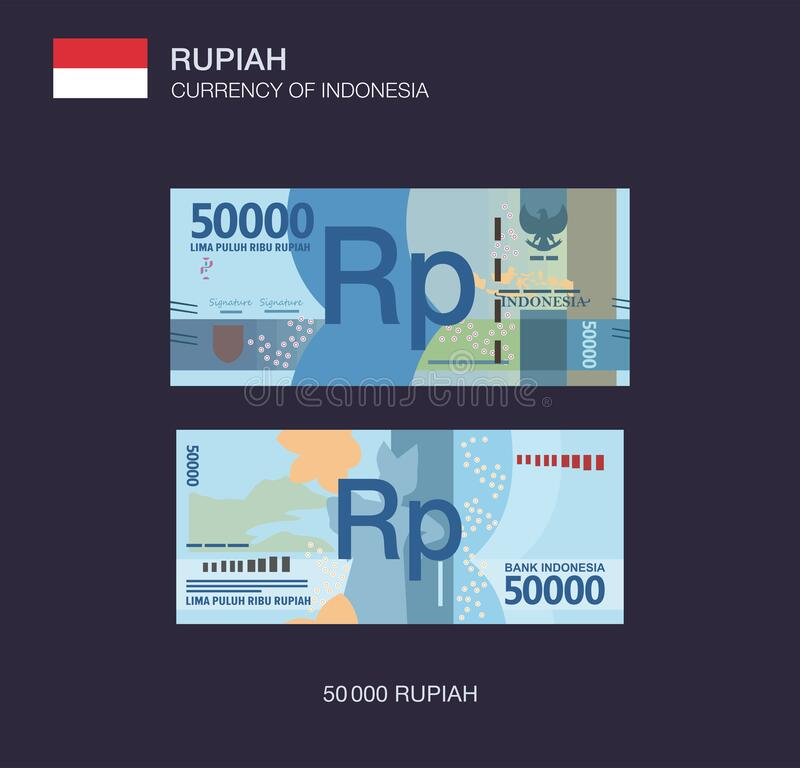 Free Currency Of Indonesia. Flat Vector Illustration Of Indonesian Fifty Thousand Rupiah. Stock Image - 187366081