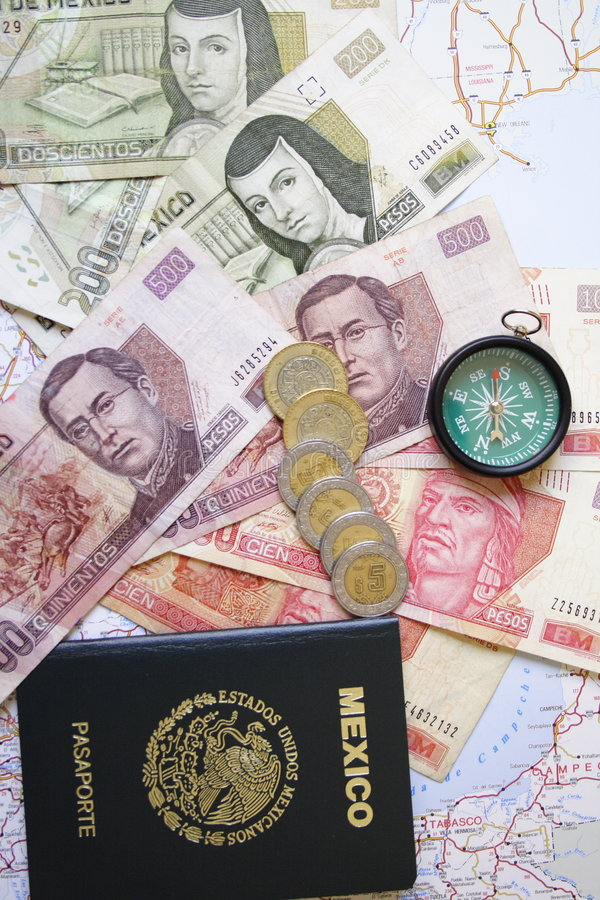 Currency and passport stock images