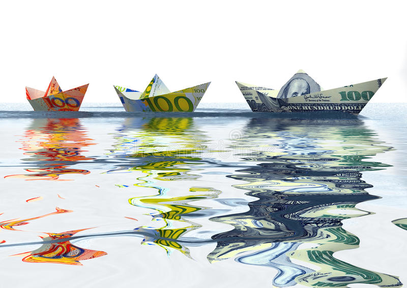 Currency ships royalty free stock images
