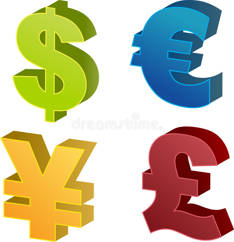 Currency symbol illustrations stock illustration