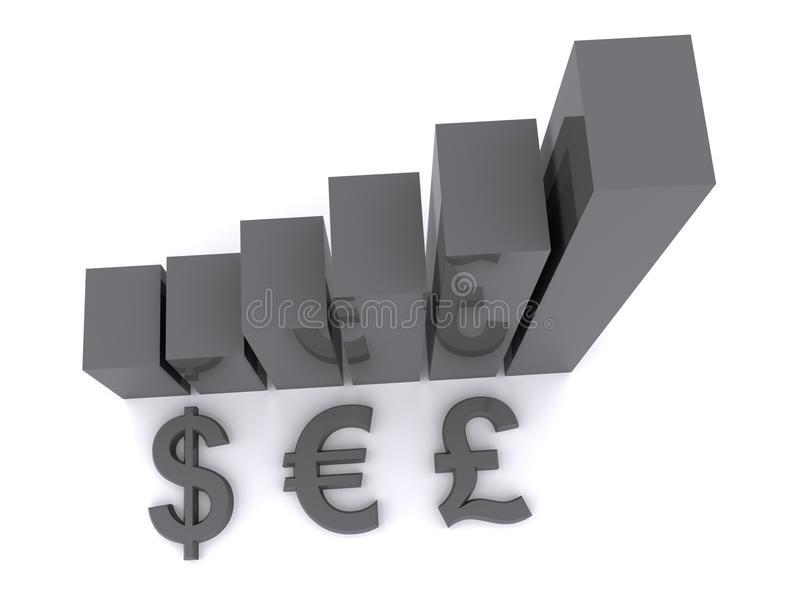 Download Currency symbols and bars stock illustration. Image of dimension - 17122270
