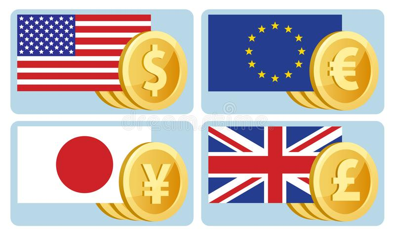 Currency symbols: dollar, euro, yen, pound sterling. Flags of th vector illustration