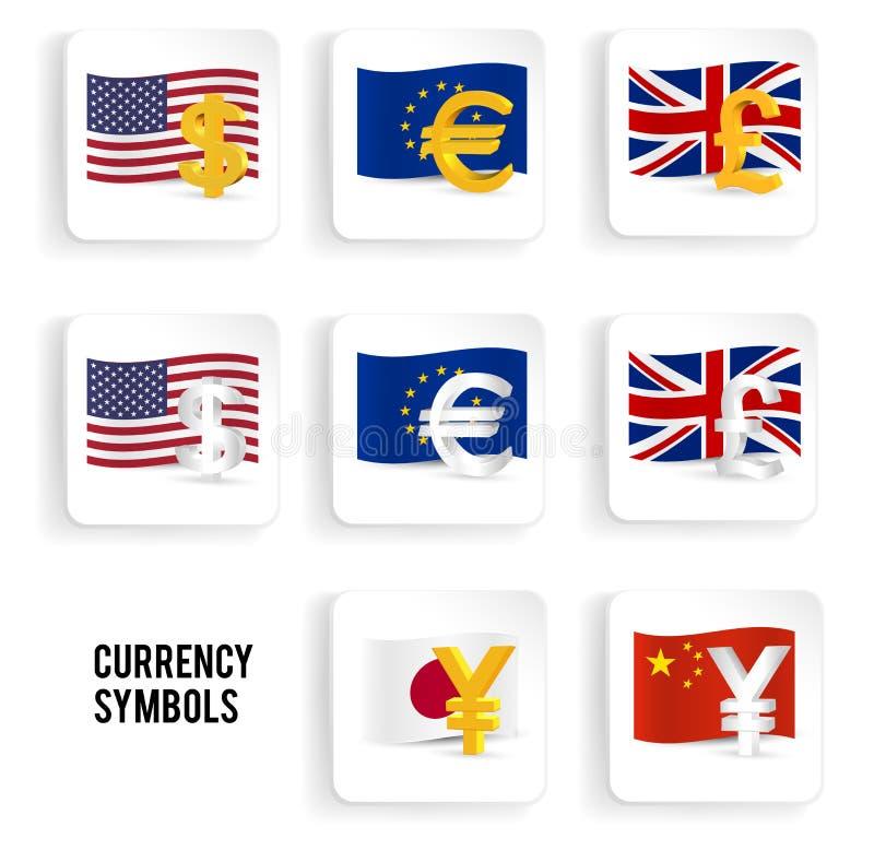 Currency Symbols Icon Set Dollar Euro Pound Yuan Yen Stock