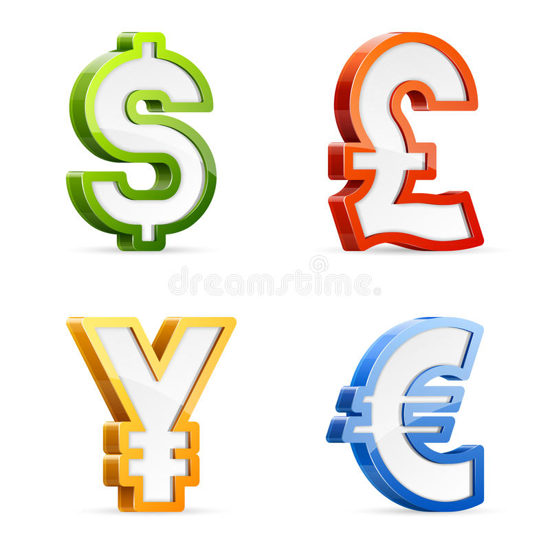 Download Currency symbols stock vector. Illustration of euro, glossy - 33983231
