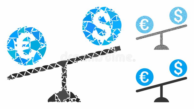 Currency trade swing Composition Icon of Tuberous Pieces. Currency trade swing composition of abrupt items in various sizes and color tinges, based on currency royalty free illustration