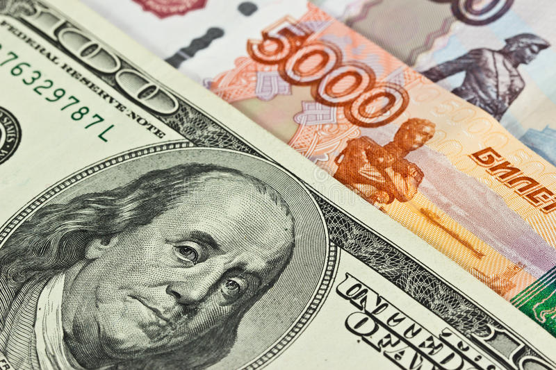 Currency: US and Russian stock photo