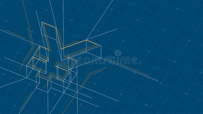 Currency USD JPY Japanese Yen isometric symbol dot and dash line frame structure pattern wireframe, Digital money cryptocurrency. Concept illustration isolated stock illustration