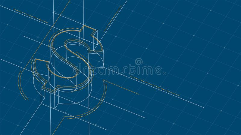 Currency USD United States Dollars isometric symbol dot and dash line frame structure pattern wireframe, Digital money. Cryptocurrency concept illustration stock illustration