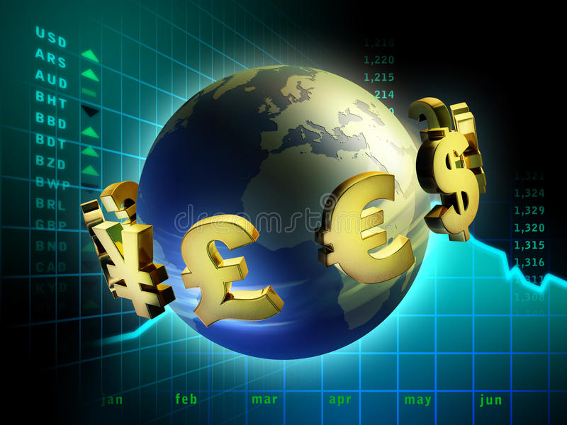 Currency world. Currency symbols moving around planet Earth. Digital illustration