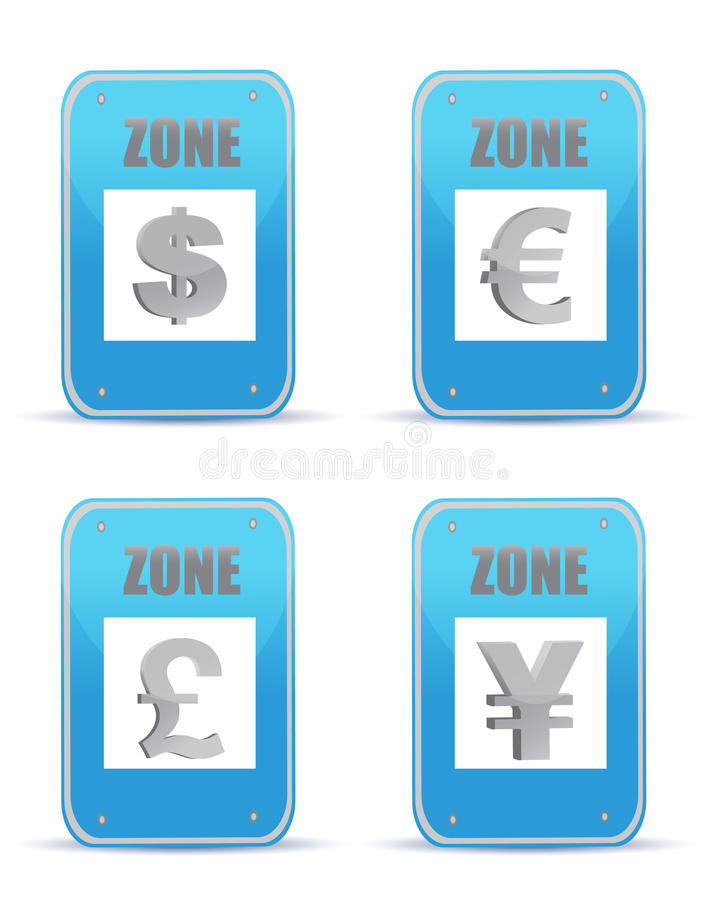 Currency Zones Symbol Illustration Design Signs Royalty Free Stock Photo