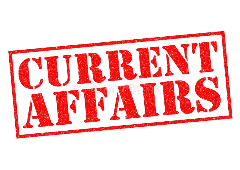CURRENT AFFAIRS. Red Rubber Stamp over a white background stock illustration