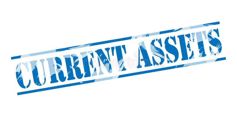 Current assets blue stamp vector illustration
