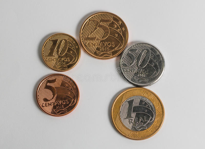 Current brazilian coins real in order stock images