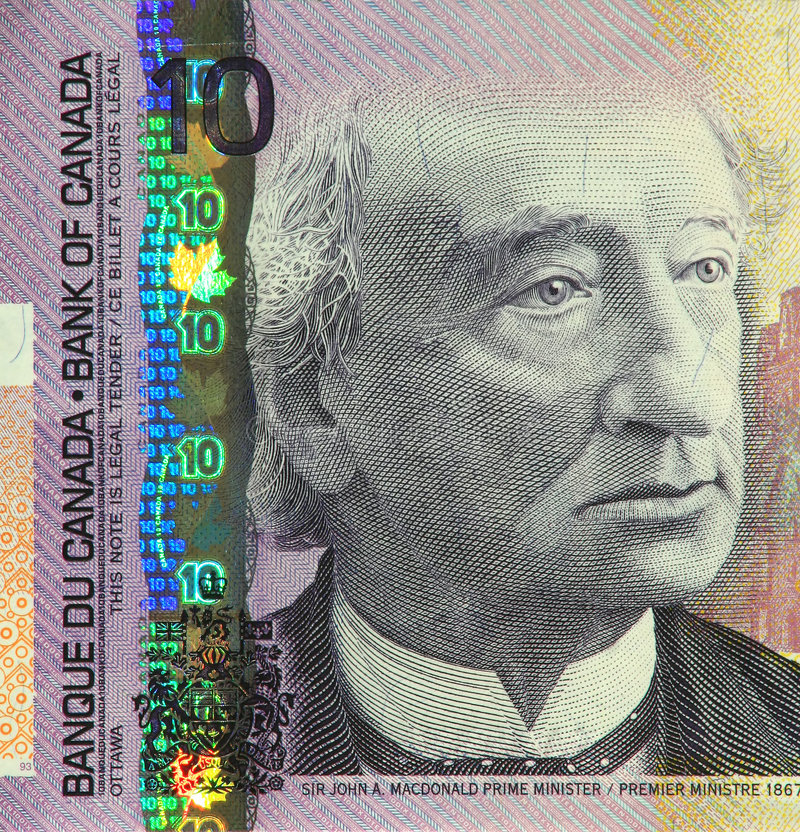 Current Canadian $10 Banknote stock photos