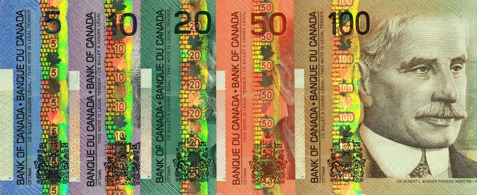 Current Canadian Paper Money Set royalty free stock photos