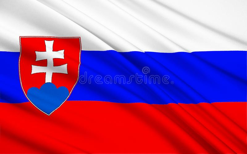Flag of Slovakia. The current form of the flag of Slovakia was adopted by Slovakia`s Constitution, which came into force on 3rd September 1992 royalty free stock image