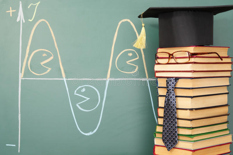 Current. Teacher of electronics, funny education concept royalty free stock images
