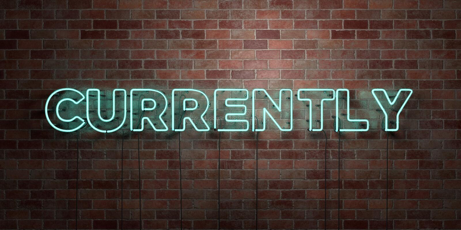CURRENTLY - fluorescent Neon tube Sign on brickwork - Front view - 3D rendered royalty free stock picture. Can be used for online banner ads and direct mailers royalty free illustration