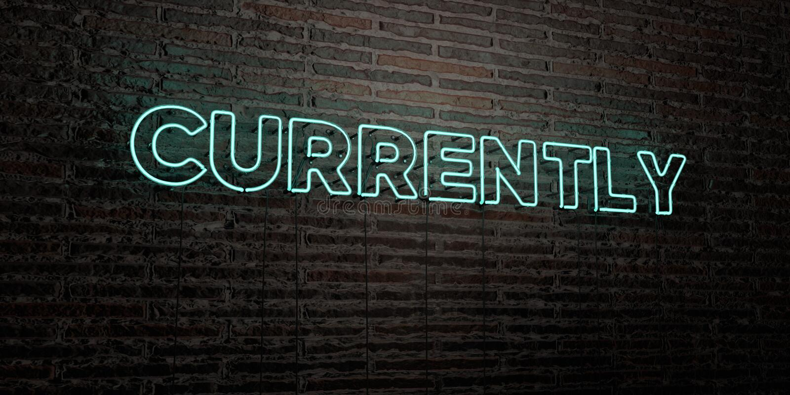 CURRENTLY -Realistic Neon Sign on Brick Wall background - 3D rendered royalty free stock image. Can be used for online banner ads and direct mailers vector illustration