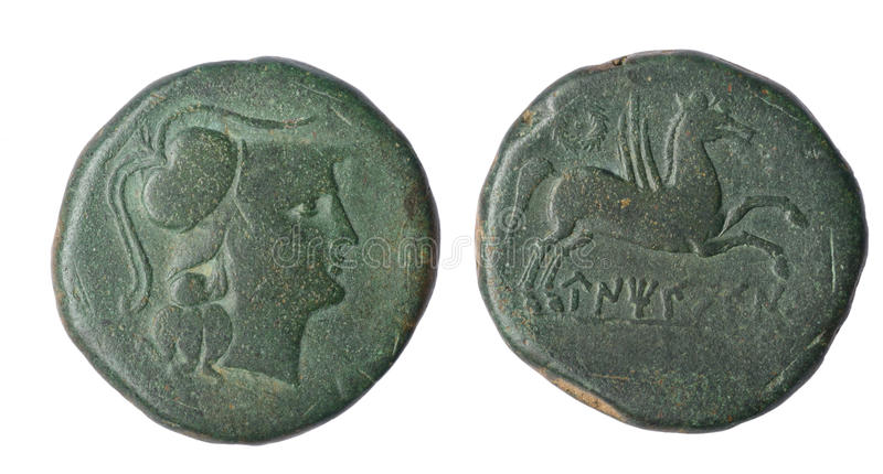 Curreny. Iberian As of Ampurias Century II B.C Front: Head Palas Reverse: Pegasus and Iberian legend stock photo