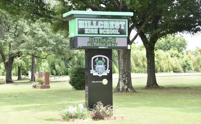 Hillcrest High School Sign, Memphis, TN. The curriculum also includes French language, psychology, Spanish and history. The school also offers courses in royalty free stock images