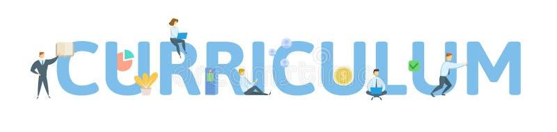 curriculum Poj?cie z lud?mi, listami i ikonami, P?aska wektorowa ilustracja pojedynczy bia?e t?o ilustracji