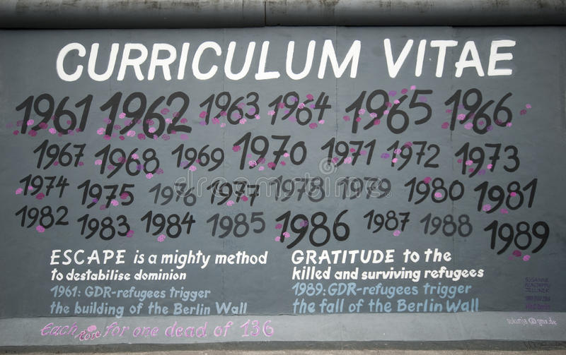 Curriculum Vitae. Berlin, Germany - August 4, 2011: Curriculum Vitae. East Side Gallery is a 1.3km-long section of the wall of Berlin Germany. The famous kis