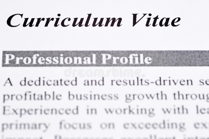 Curriculum Vitae. Close up of a Curriculum Vitae with professional profile stock photography