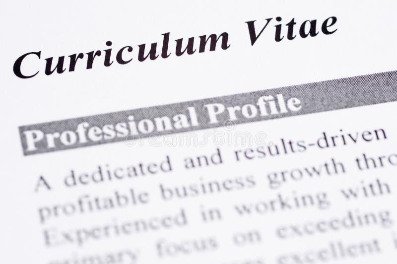 Curriculum Vitae. Close up of a Curriculum Vitae with professional profile stock images