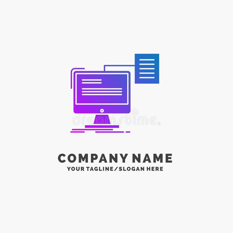curriculum vitae, almacenamiento, impresi?n, cv, negocio p?rpura Logo Template del documento Lugar para el Tagline ilustración del vector