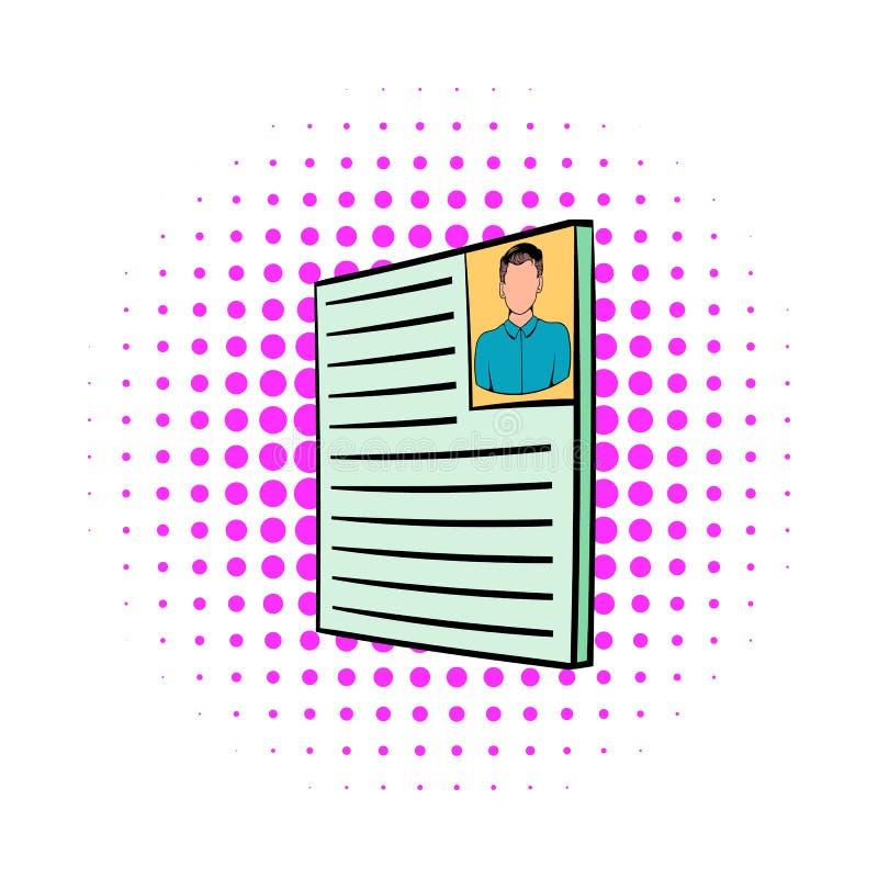 Curriculum vitae avec l'icône de photo, style de bandes dessinées illustration de vecteur