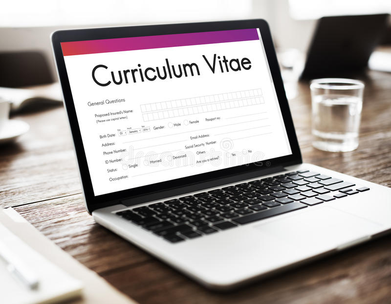 Curriculum Vitae Biography Form Concept. Curriculum Vitae Biography Form Application Concept royalty free stock images