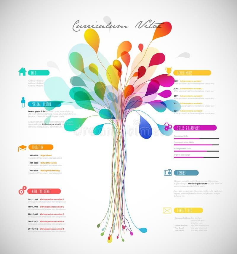 Curriculum vitae colorido abstrato ilustração royalty free