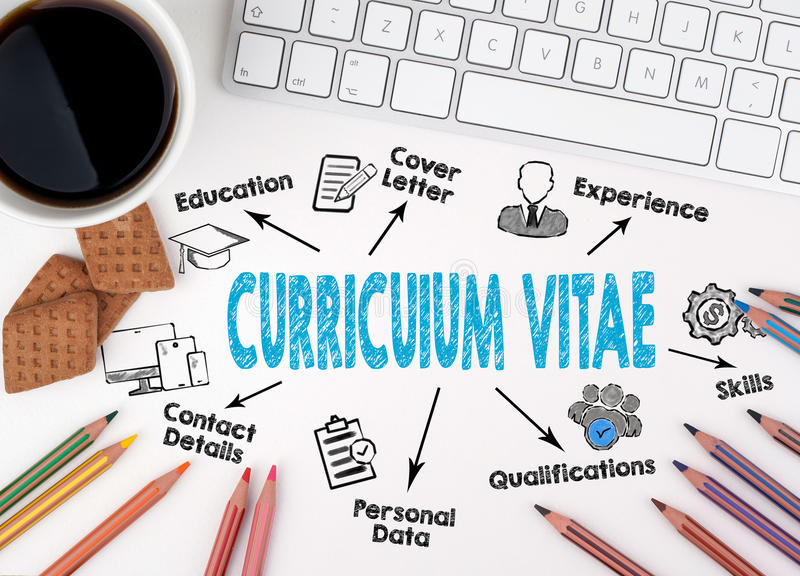 Curriculum Vitae concept. Computer keyboard on a white table.  royalty free stock image