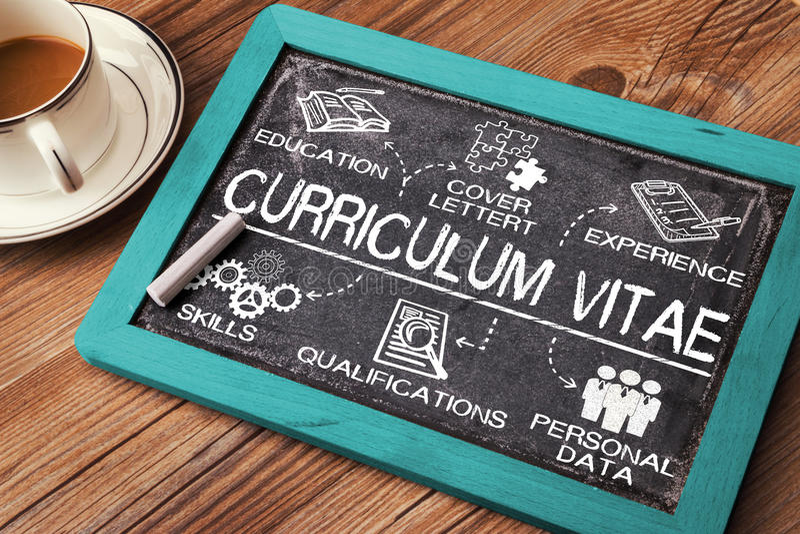 Curriculum vitae concept. Drawn on blackboard stock photos