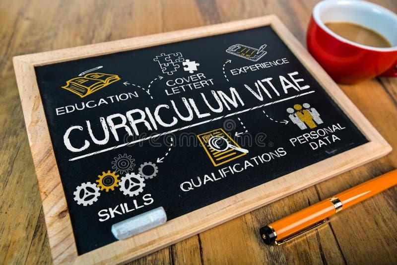 Curriculum vitae concept. Drawn on blackboard royalty free stock photos