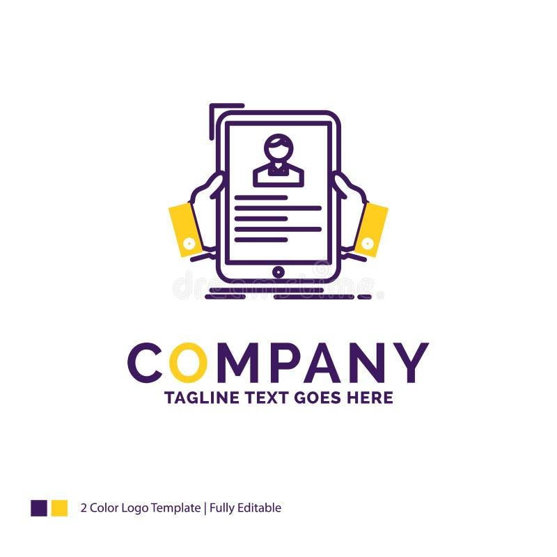 Curriculum vitae de Logo Design For del nombre de compañía, empleado, empleando, hora, profi stock de ilustración