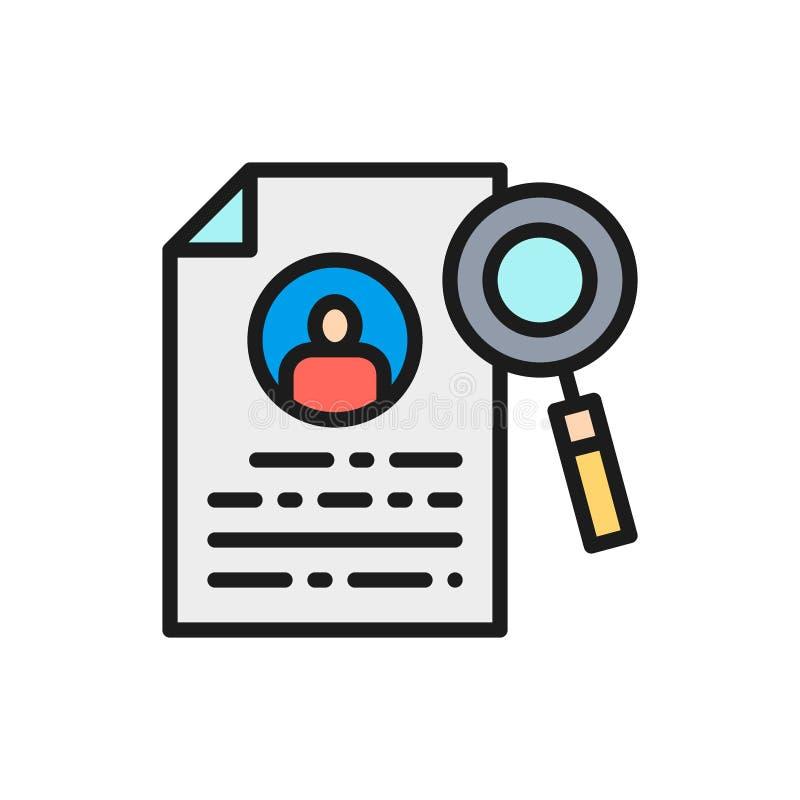 Curriculum vitae del vector, búsqueda de trabajo, posibilidad de empleo, línea de color plana del perfil del empleado icono libre illustration